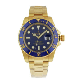 Rolex Submariner 116618 40mm 18K Yellow Gold Blue Dial B&P Watch