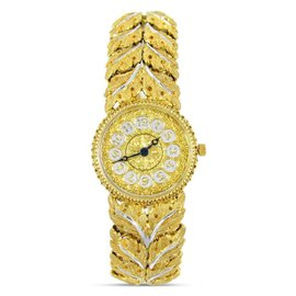 Buccellati Gianmaria 18K Yellow & White Gold Leaf Pattern 23.5mm Womens Watch