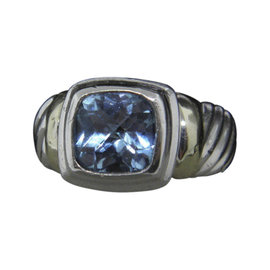 David Yurman 925 Sterling Silver & 14K Yellow Gold Petite Albion with Blue Topaz Ring Size 5