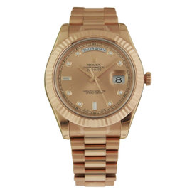Rolex Day Date II 218235 Rose Champagne Diamond Dial President Mens Watch