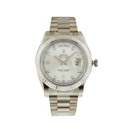 Rolex 218239 Day Date II 41mm White Gold Silver Diamond Dial Watch