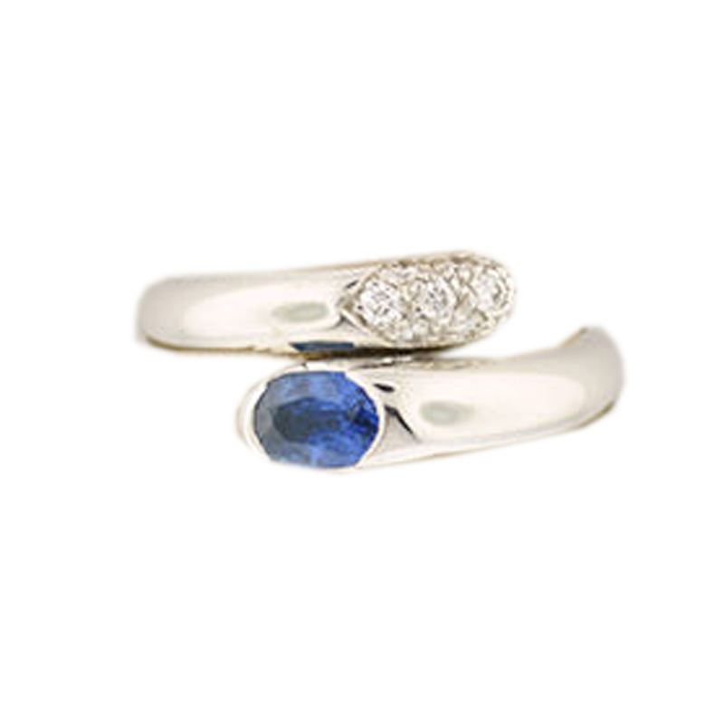 "Image of ""Bulgari 18K White Gold Blue Sapphire And Diamond Ring"""