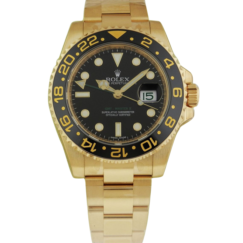 "Image of ""Rolex GMT Master II 116718 BK 40mm 18K Yellow Gold Black Dial Watch"""