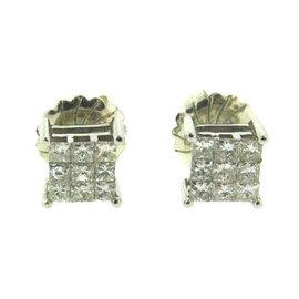 GDM 10K White Gold Princess Cut Diamond Square Stud Earrings