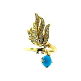 14K Yellow Gold Diamond Turquoise Cocktail Ring