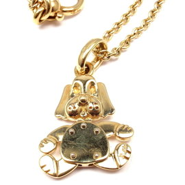 Pomellato 18K Yellow Gold Dog Pendant Link Chain Necklace