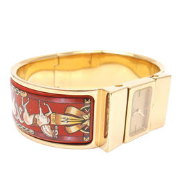 Hermes Loquet Gold-Plated Sterling Silver White Horses on Red Field Enamel Watch