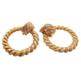 Chanel Gold Tone Extra Large Hoop Earrings
