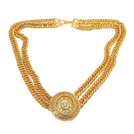 Chanel Gold Tone Double Layer Textured Rue Cambon Logo Necklace