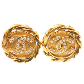 Chanel Chunky Gold Tone Crystal Logo Clio On Earrings