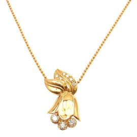 Christian Dior 18K Yellow Gold Diamond Tulip Necklace
