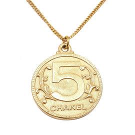 Chanel Gold Tone Reversible Pendant Necklace