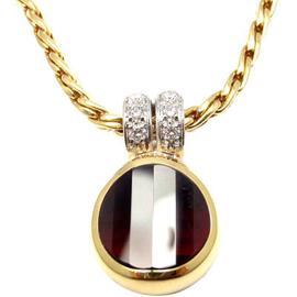 Pomellato 18K Yellow Gold Diamond Garnet Pendant Necklace