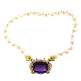 18K Yellow Gold, Pearl & Amethyst Necklace