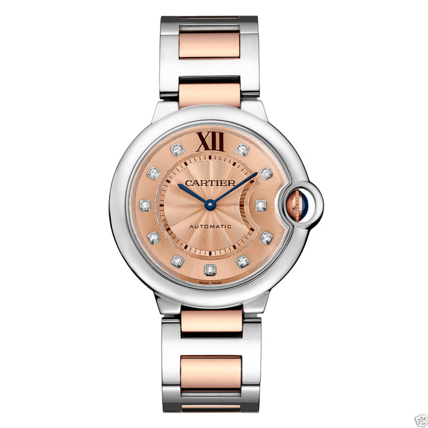 Cartier We902054 Ballon Bleu Stainless Steel & Rose Gold Diamond 36mm