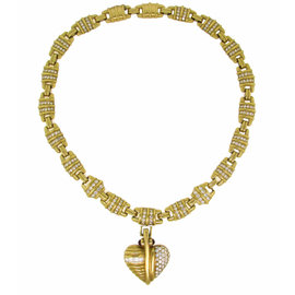Judith Ripka Diamond Yellow Gold Necklace With Removable Heart Pendant