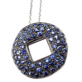 Pomellato 18K White Gold Sapphire Pendant Necklace