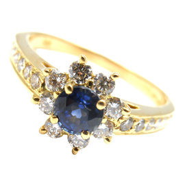 Tiffany & Co 18K Yellow Gold Diamond Sapphire Flower Ring