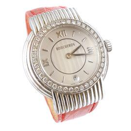 Boucheron 36mm Stainless Steel & Diamond Watch