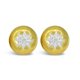 Buccellati 18K Yellow Gold 0.07ct. Diamonds Classica Button Earrings