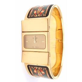 Hermes Loquet Green Enamel Gold Hardware Horse Motif Watch