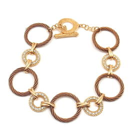 Charriol 18K Yellow Gold and Steel Diamond Circle Bracelet