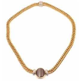 Pomellato 18k Yellow Gold Pave Diamond Garnet Pendant Necklace