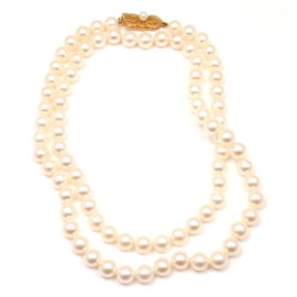 Mikimoto Vintage 18K Yellow Gold Pearl Necklace