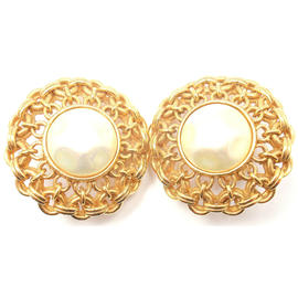 Chanel French Gold Tone Costume Clip On Earrings