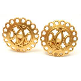 Hermes Gold Tone Bijouterie Fantaisie Clip On Logo Earrings