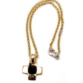 Pomellato 18K Yellow Gold Garnet Cross Pendant Necklace