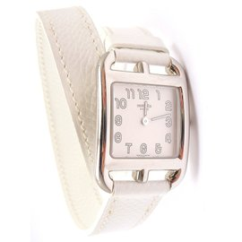 Hermes Cape Cod White Leather Wrap Watch 2005
