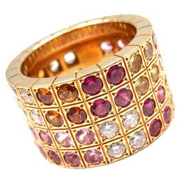Cartier Lanieres 18K Yellow Gold Diamond Multicolor Sapphire Ring