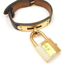 Hermes Kelly Black Epsom Leather Gold Hardware Watch,1996