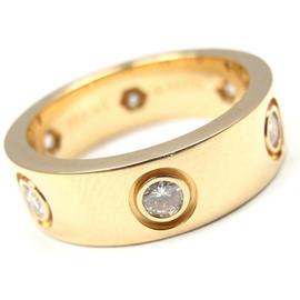Cartier Love Diamond 18K Yellow Gold Ring Size 4.75