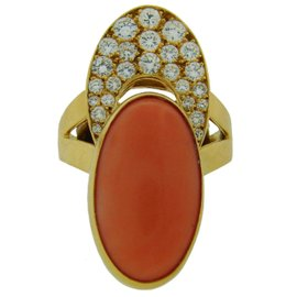 Cartier France Coral Diamond Yellow Gold Ring