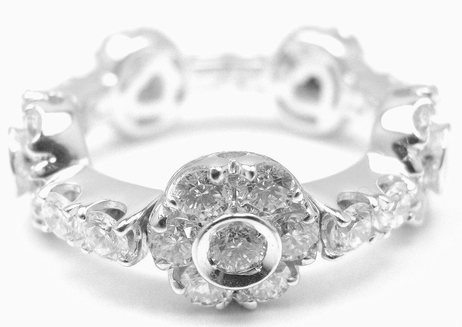 """""Pasquale Bruni 18k White Gold Diamond Flowers & Bars Ring"""""" 169649"