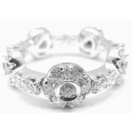 Pasquale Bruni 18k White Gold Diamond Flowers & Bars Ring