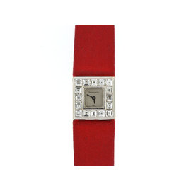 Tiffany & Co. Paloma Picasso 18K White Gold Diamond And Red Strap Watch
