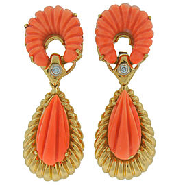 Van Cleef & Arpels Vca Carved Coral Diamond Yellow Gold Earrings