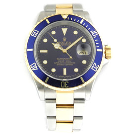 Rolex Submariner 16613 Stainless Steel 18k Yellow Gold Blue Dial Auto