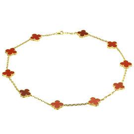 Van Cleef & Arples Alhambra Red Carnelian 18K Yellow Gold Necklace