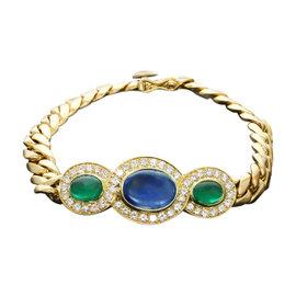 Bulgari Fabulous Diamond Sapphire Emerald 18k Yellow Gold Link Bracelet