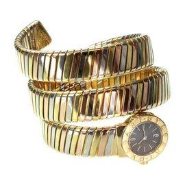 Bvlgari Bulgari Tubogas 18K Tri-Tone Gold Snake Cuff Watch