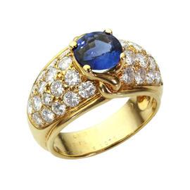 Van Cleef & Arpels 18k Yellow Gold Blue Sapphire Diamond Ring