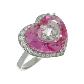 Chopard Happy Diamond Pink Quartz 18k White Gold Heart Ring 2000s