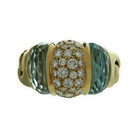 Bulgari Ganci Diamond Aquamarine 18k Yellow Gold Ring