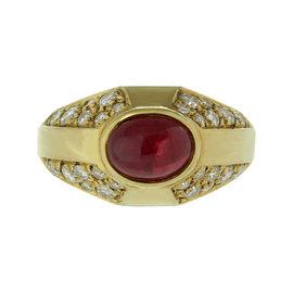 Bulgari Diamond Ruby 18k Yellow Gold Ring