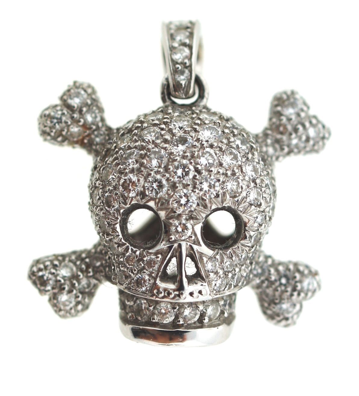 "Image of ""Christian Dior 18k 750 White Gold Diamond Skull Charm Pendant"""