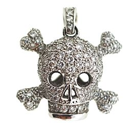 Christian Dior 18k 750 White Gold Diamond Skull Charm Pendant